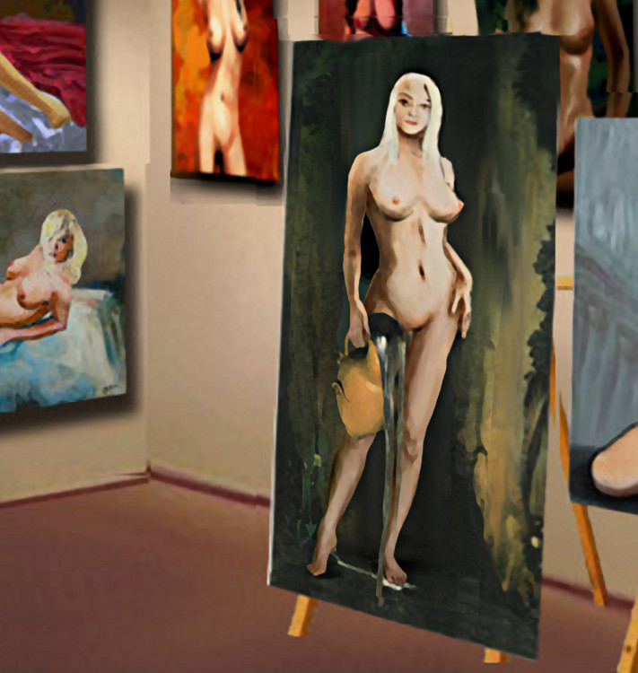 Traditional Modern Original Fine Art                           Female Nude Standing ...after Ingres, La                           Source. - original fine art work by G.                           Linsenmayer