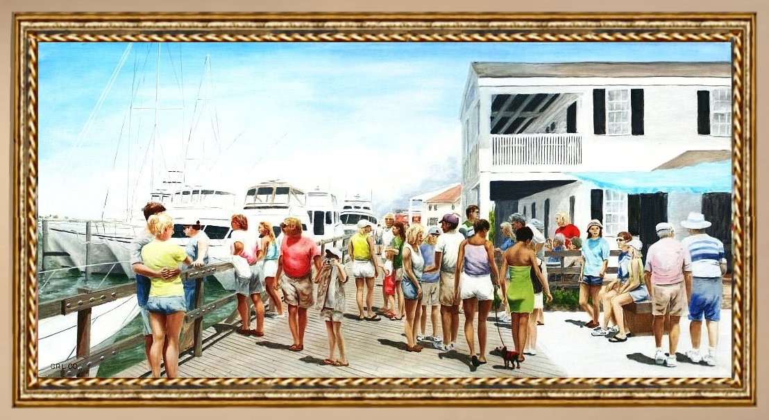 Beach/shore II Boardwalk Beaufort Dock. Paintings and prints, landscapes/seascapes, boats, sea and shore, abstracts, nudes, female nudes... Original fine art work by G. Linsenmayer.