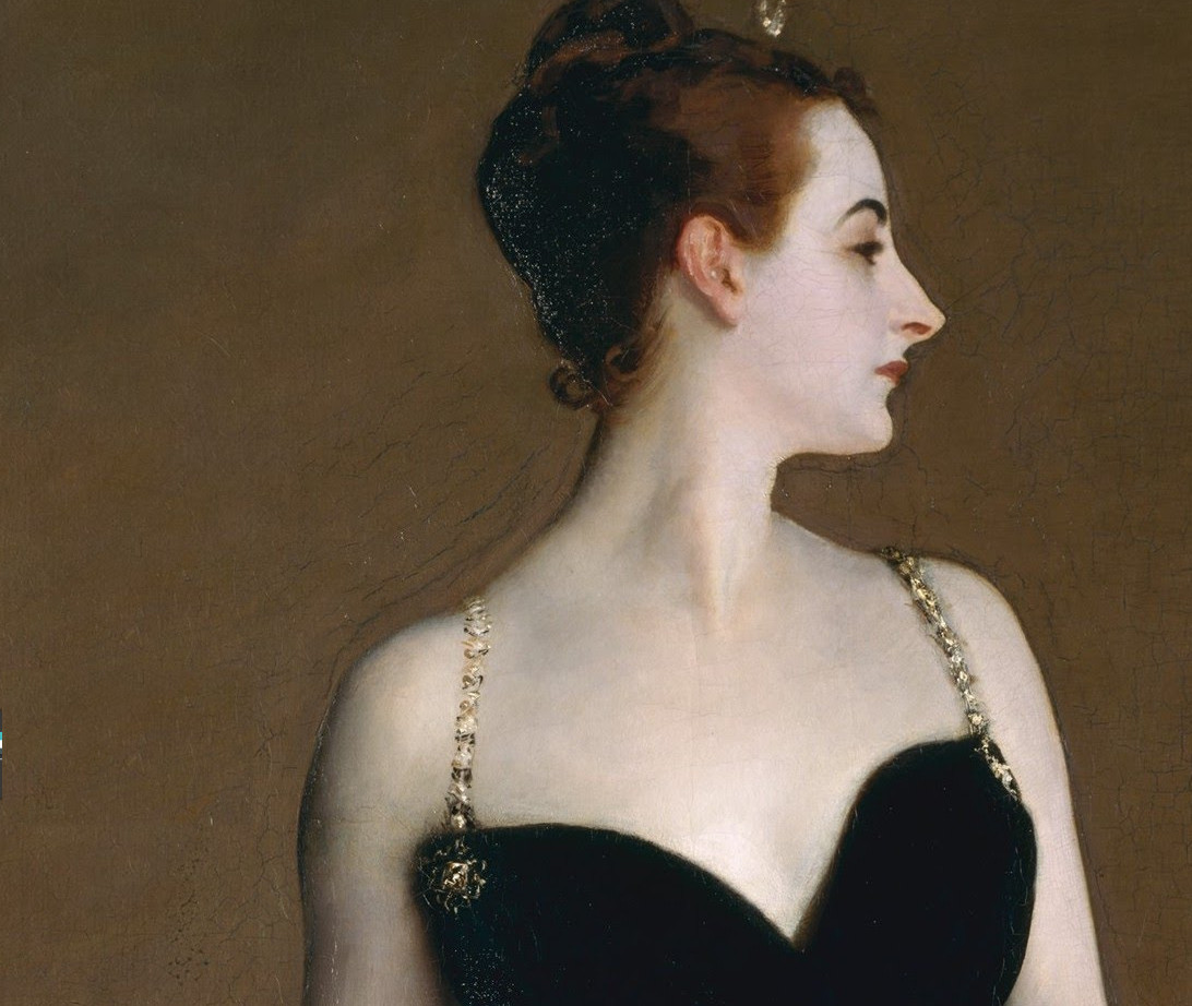 Portrait of Madame X (detail) by John Singer Sargent. A portrait painting by John Singer Sargent of a young socialite named Virginie Amélie Avegno Gautreau, wife of the French banker Pierre Gautreau. Lots of scandal...