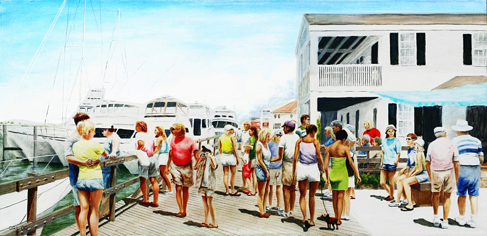 Original Multimedia Digital Art. Boardwalk Beaufort Dock Original Fine Art Painting, Paintings and prints, landscapes/seascapes, boats, sea and shore, abstracts, nudes, female nudes; ... Original fine art work by G. Linsenmayer.