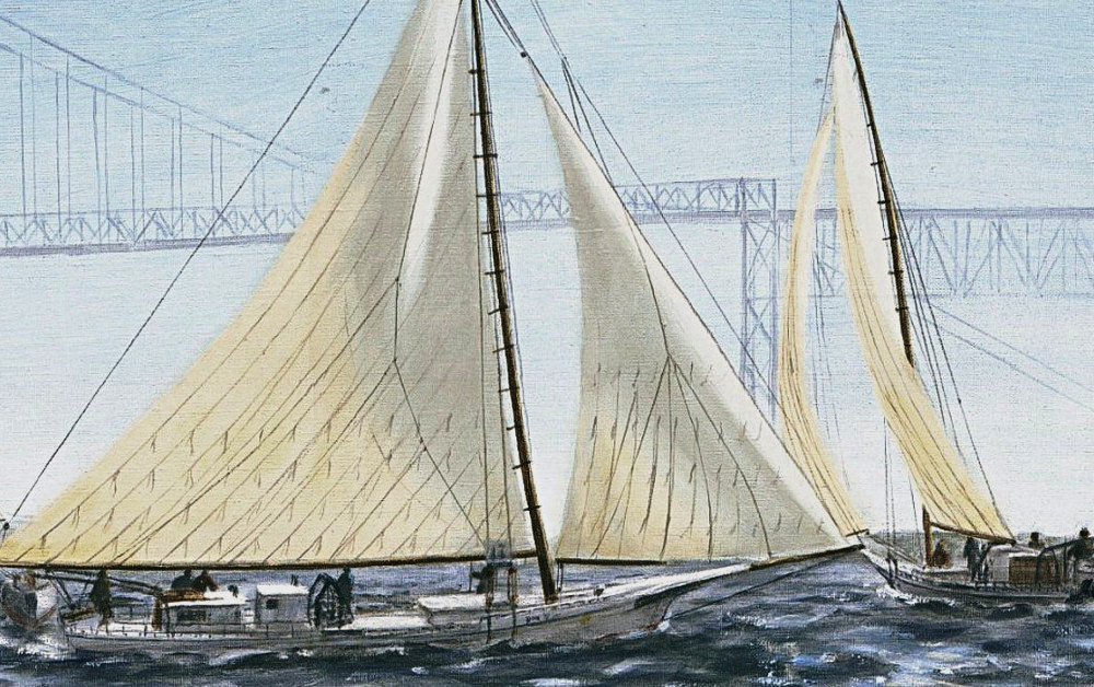 Original Fine Art Painting Skipjacks Racing Chesapeake Bay - original fine art work by G. Linsenmayer