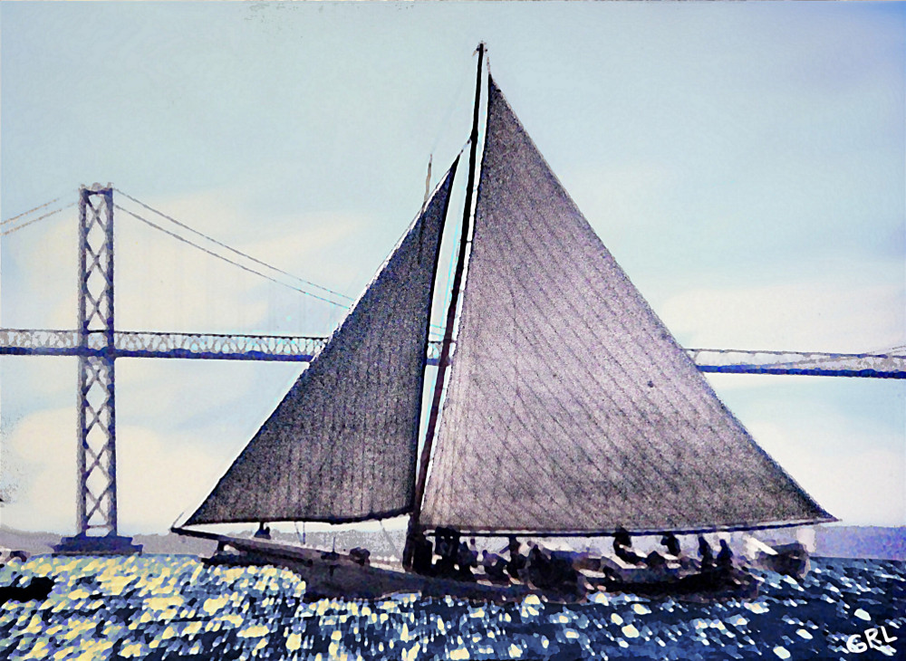 Skipjacks Racing Chesapeake Bay Maryland Contemporary Digital Art Work - original fine art work by G. Linsenmayer