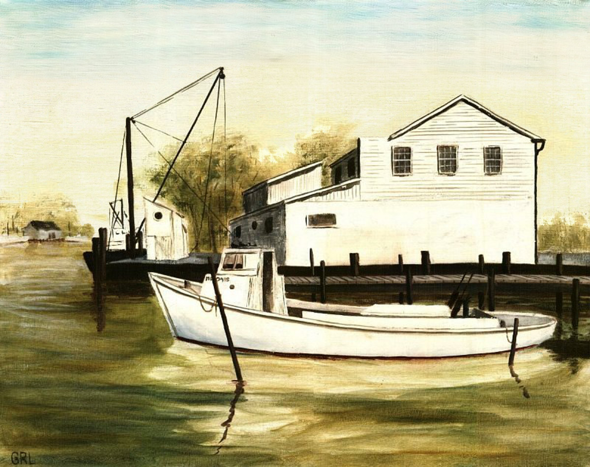 Solomons Island - Original Fine Art Painting. Summer on the Chesapeake Bay, Southern Maryland. This picture is a traditional painting, oil on linen, a workboat at Solomons Island, Chesapeak Bay, Maryland. $18 to $24, medium-size prints. The original painting is now for sale, $1900, framed. Free downloads, wallpaper, ‬‎GrlFineArt. Fine art work, decor, chesapeake bay, maryland, sunset, seascape.