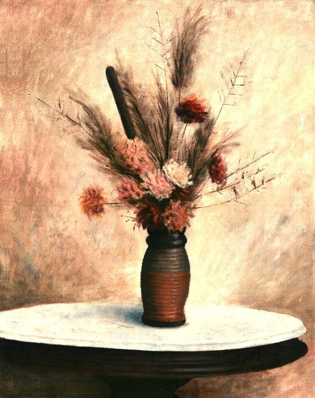 fine art                               original oil painting Dried Flower                               Arrangement - original fine art work by G.                               Linsenmayer