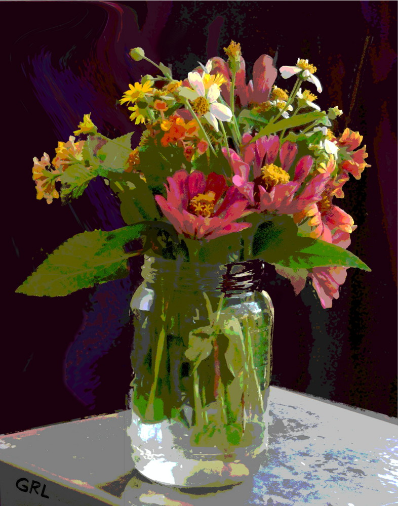 Classical Contemporary Original Multimedia Digital Art. WILDFLOWERS AND ZINNIAS IN A JAR. Digital paintings and prints, flowers, landscapes/seascapes, boats, sea and shore, abstracts, nudes, female nudes; ... Original fine art work by G. Linsenmayer.