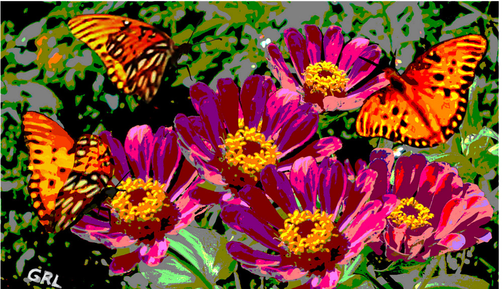 Butterflies And Zinnias Florida Contemporary Digital Art. Paintings and prints, landscapes/seascapes, boats, sea and shore, abstracts, nudes, female nudes... Original fine art work by G. Linsenmayer.