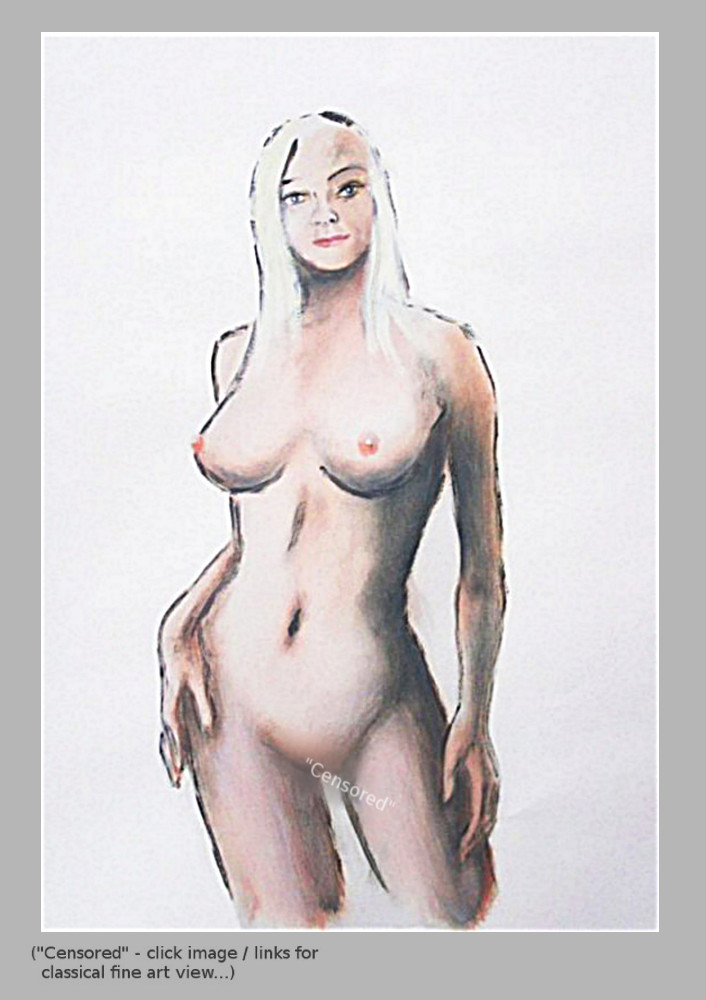 ... click the image to see it larger... Digital sketches, acrylic/oil, sketches, paintings - Female Contemporary Nude Sketch, Cori, standing. by G Linsenmayer. Original art paintings and prints, landscapes/seascapes, boats, sea and shore, abstracts, nudes, female nudes...