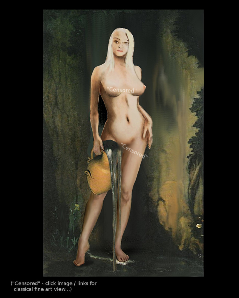 Traditional Modern Female Nude Standing after Ingres La Source - Multimedia Acrylic/Oil Art Work - original fine art work by G. Linsenmayer