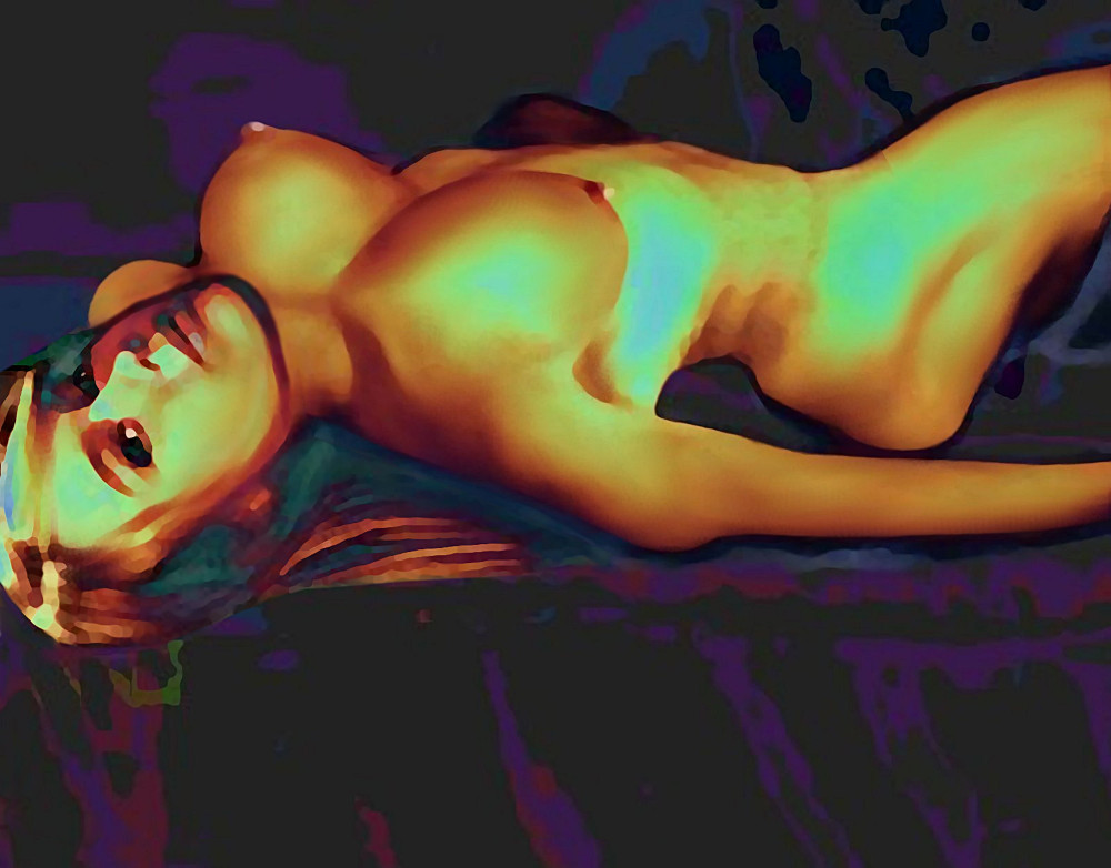 DIGITAL NUDE ART JESS RECLINING 7-26-09b - original fine art work by G. Linsenmayer. Original art paintings and prints, landscapes/seascapes, boats, seaand shore, abstracts, nudes, female nudes...