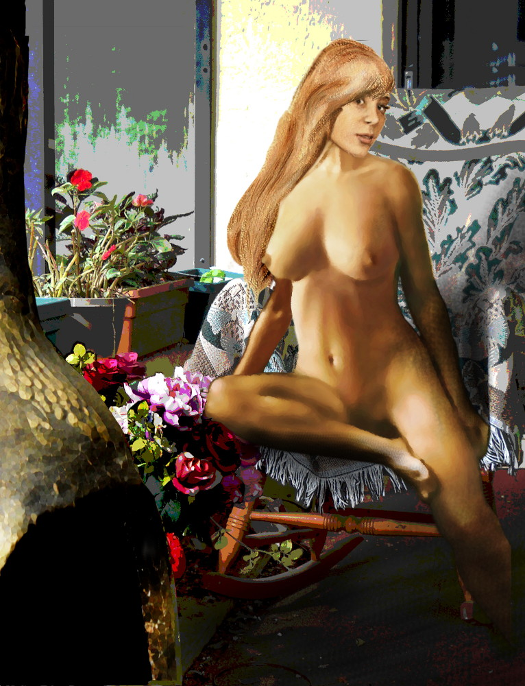 Fine Art Female Nude Jess Sitting 2b4 ... an original digital fine art piece. - original fine art work by G. Linsenmayer