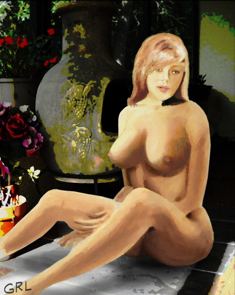 Fine Art Female Nude Jess Sitting On The Patio - Painting - Original Digital Image - original fine art work by G. Linsenmayer. Original art paintings and prints, landscapes/seascapes, boats, sea and shore, abstracts, nudes, female nudes...