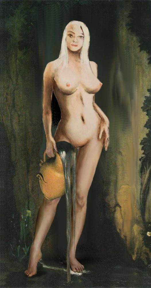Traditional Modern Female Nude Standing, after Ingres La Source. $18 to $24, medium-size prints. Free downloads, wallpaper, ‬‎GrlFineArt. Fine art work, nudes, figurative paintings. View here, art decor ‪‎fineart figures ‪‎painting‬ ‪‎painting‬s prints. For the digital multimedia image I have used a motif after Ingres, La Source.