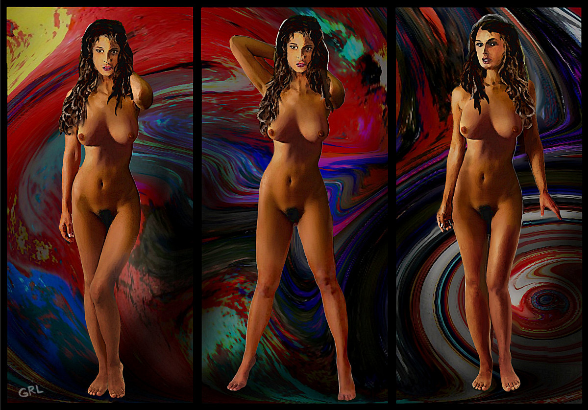 Traditional Modern Female Nude Jean Standing Fine Art Triptych - original fine art work by G. Linsenmayer
