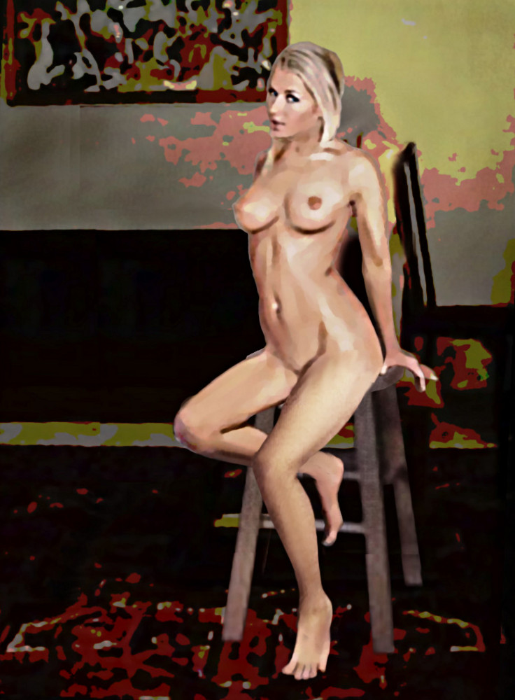 Digital fine art nude painting, Tasha, sitting... original fine art work by G. Linsenmayer.