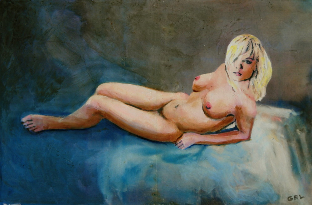 Female Nude Nikie                                 Reclining with Blue - original fine art                                 work by G. Linsenmayer