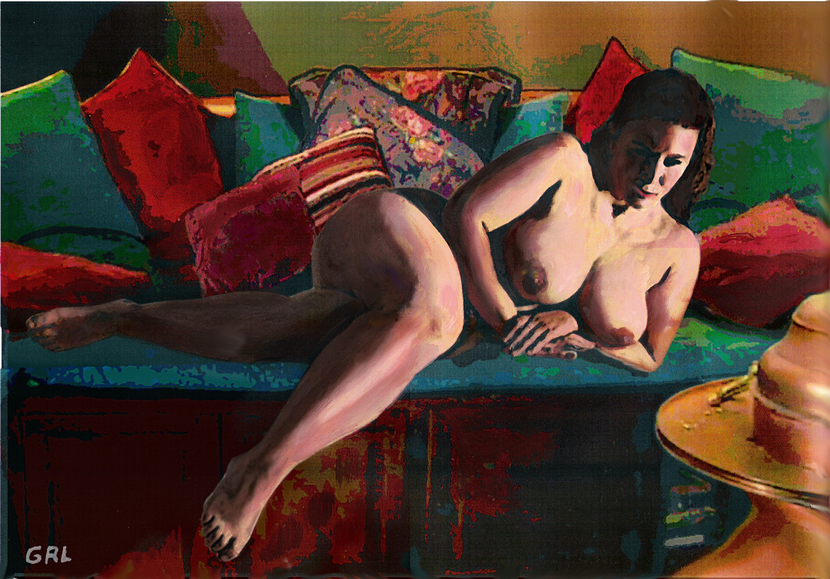 Female Nude Paris Reclining. Fine art prints $18 to $24, medium-size prints. Free downloads, wallpaper, ‬‎GrlFineArt. Fine art work, nudes, figurative paintings. View here, art decor ‪‎fineart figures ‪‎painting‬ ‪‎painting‬s prints.  Fine Art Female Nude Paris Reclining, by G Linsenmayer .. an original multimedia acrylic/oil fine art work, in a contemporary style.