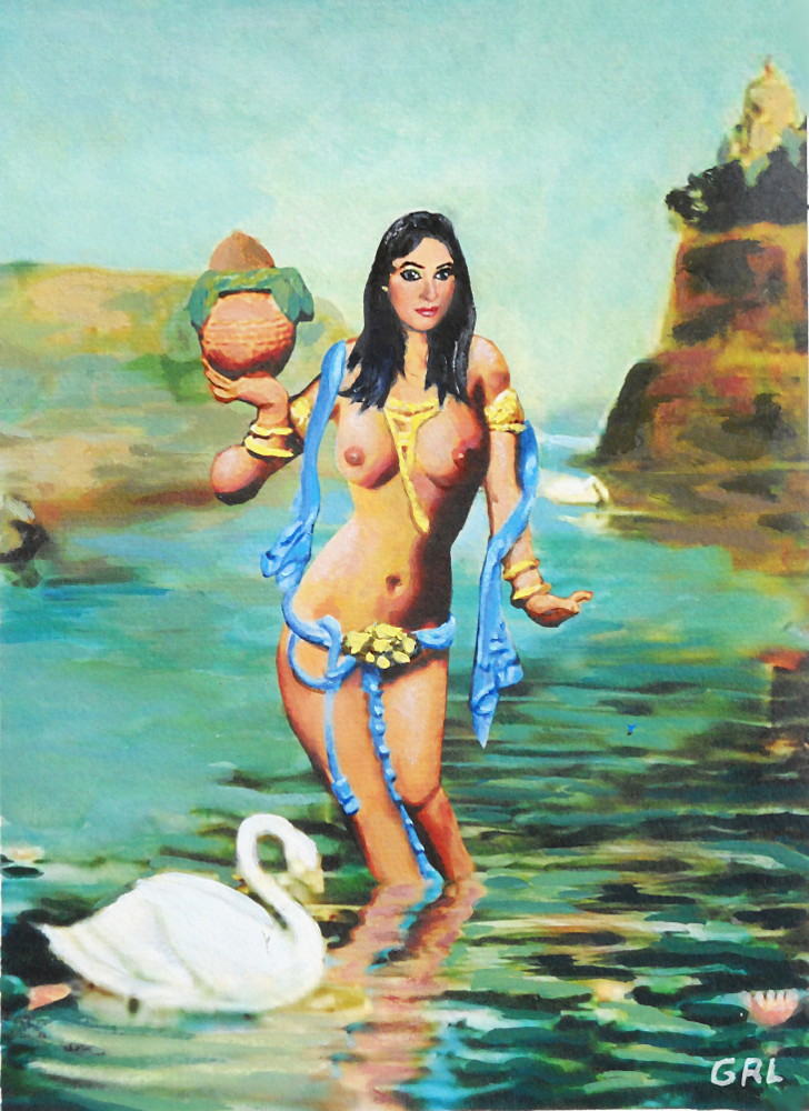 FINE ART FEMALE NUDE ASIAN RIVER                                 GODDESS MULTIMEDIA PAINTING - original                                 fine art work by G. Linsenmayer