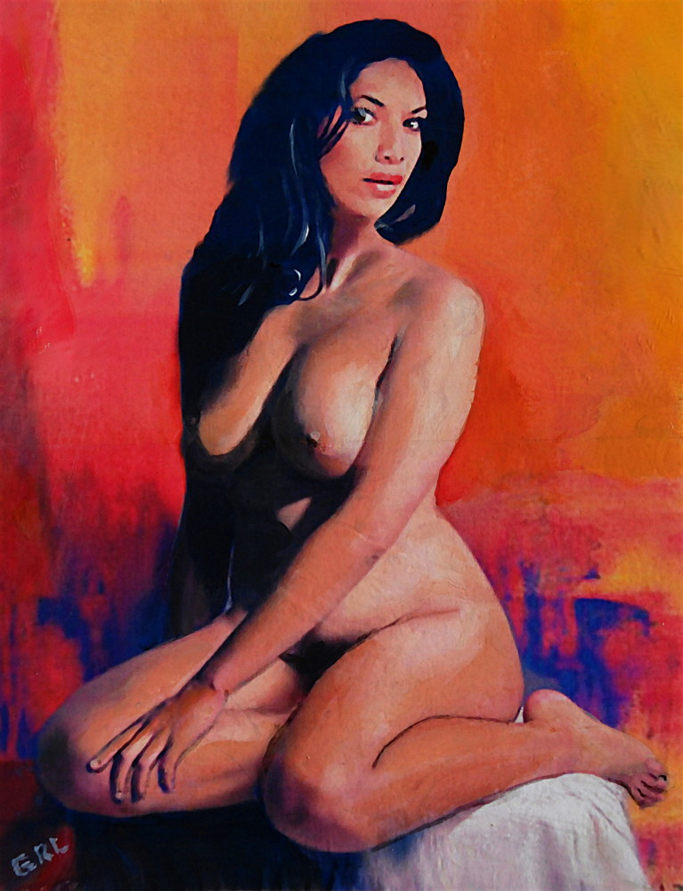 Original Female Nude Goddess Eirene I Sitting Orange Red Background. Paintings and prints, landscapes/seascapes, boats, sea and shore, abstracts, nudes, female nudes... Original fine art work by G. Linsenmayer.