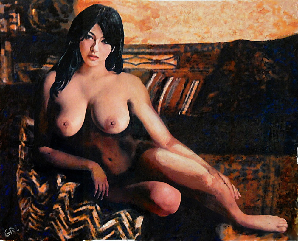 Original Female Nude Goddess Eirene II Seated. Original multimedia fine art work, paintings. $18 to $24, medium-size prints. The original is currently for sale, 16 x 12.5 inches, $350. Eirene was the Greek peace Goddess, the daughter of Zeus and Themis... Free downloads, wallpaper, ‬‎GrlFineArt. Landscapes, seascapes, boats, figures, nudes, figurative art, flowers, still life, digital abstracts. Multimedia classical traditional modern acrylic oil ‪‎painting‬ ‪‎painting‬s prints.
