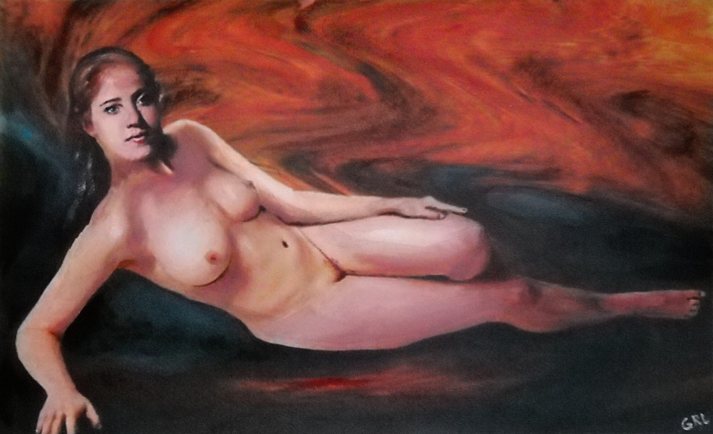 FEMALE                                 NUDE RECLINING BACKGROUND SWIRLS OF                                 ORANGE - original fine art work by G.                                 Linsenmayer