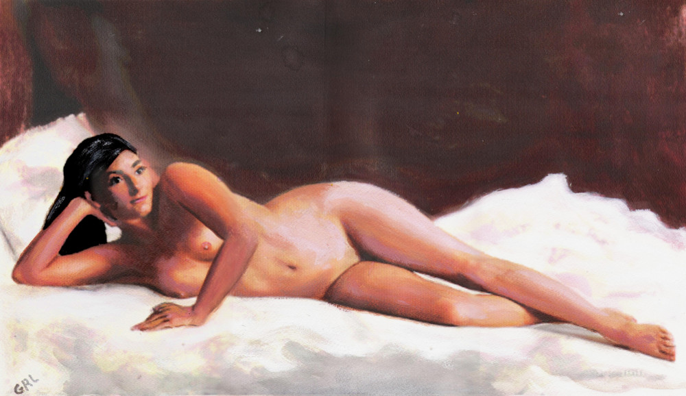 ORIGINAL                                   FINE ART FEMALE NUDE RECLINING ON                                   WHITE - original fine art work by G.                                   Linsenmayer