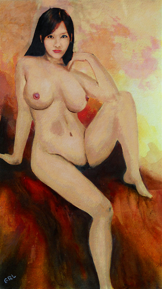 Fine Art Female Nude Sitting, Yellow Red Background, Multimedia Painting, by G Linsenmayer. Paintings and prints, landscapes/seascapes, boats, sea and shore, abstracts, nudes, female nudes... Original fine art work by G. Linsenmayer.