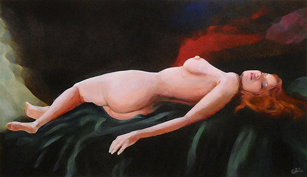 Fine Art Nude                                     Multimedia Painting Pose Reclining 2                                     on a Dark Green Spread - original                                     fine art work by G. Linsenmayer