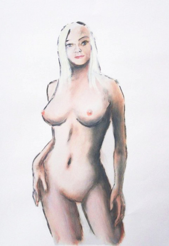 fine art original female contemporary nude sketch                 cory _1-800 - original fine art work by G. Linsenmayer