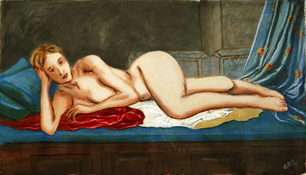 Contemporary Female Nude Reclining Odalisque After Ingres. Original painting, $1500, $18 to $24 medium-size prints. Free downloads, wallpaper, ‬‎GrlFineArt. Fine art work, nudes, figurative paintings. View here, art decor ‪‎fineart figures ‪‎painting‬ ‪‎painting‬s prints.  Female Nude Reclining Odalisque, by G Linsenmayer ... an original multimedia acrylic/oil fine art work, 16 x 28 inches, $1500.