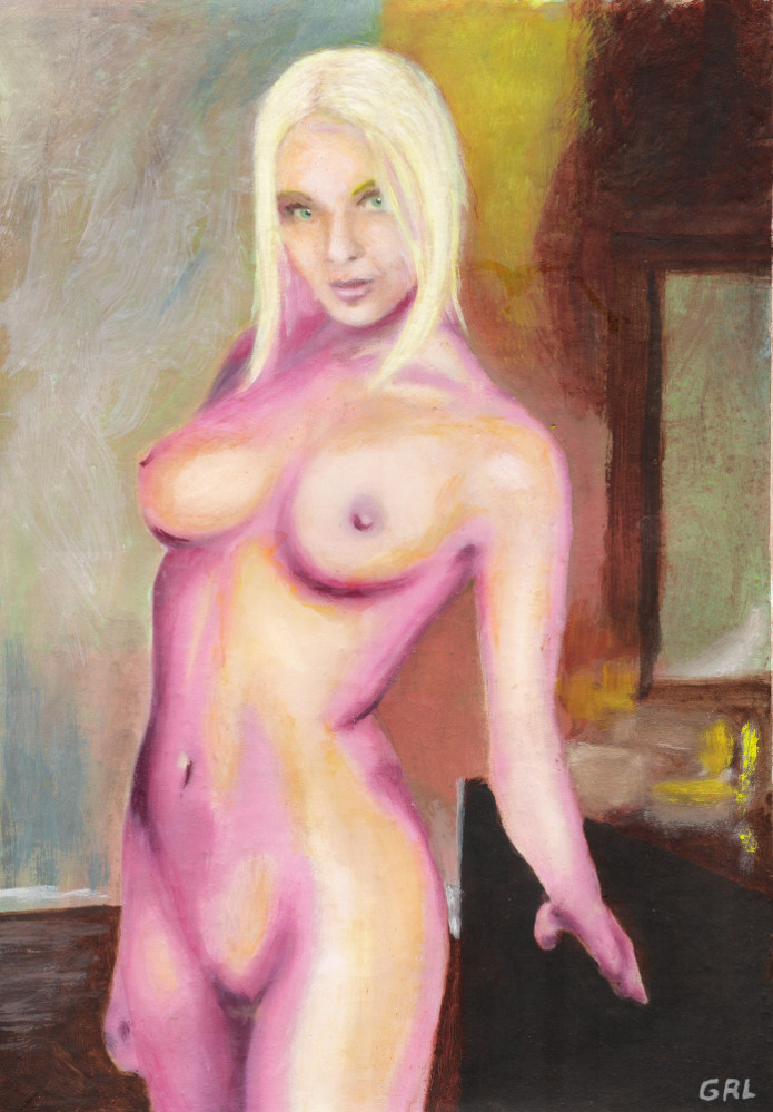 Fine art painting, female nude standing,Tasha, blond,standing, bedroom background,bright colors. - original fine art work by G.Linsenmayer