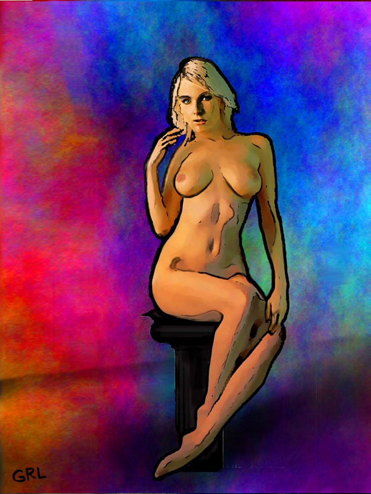 FEMALE NUDE POSING SEATED... an original digital fine art piece. Original multimedia fine art work, paintings, $18 to $24, medium-size prints. Free downloads, wallpaper.  ‬‎GrlFineArt. Fine art work, fine art decor, ‪‎fineart; landscapes, seascapes, boats, figures, nudes, figurative art, flowers, still life, digital abstracts. Multimedia classical traditional modern acrylic oil ‪‎painting‬ ‪‎painting‬s prints.