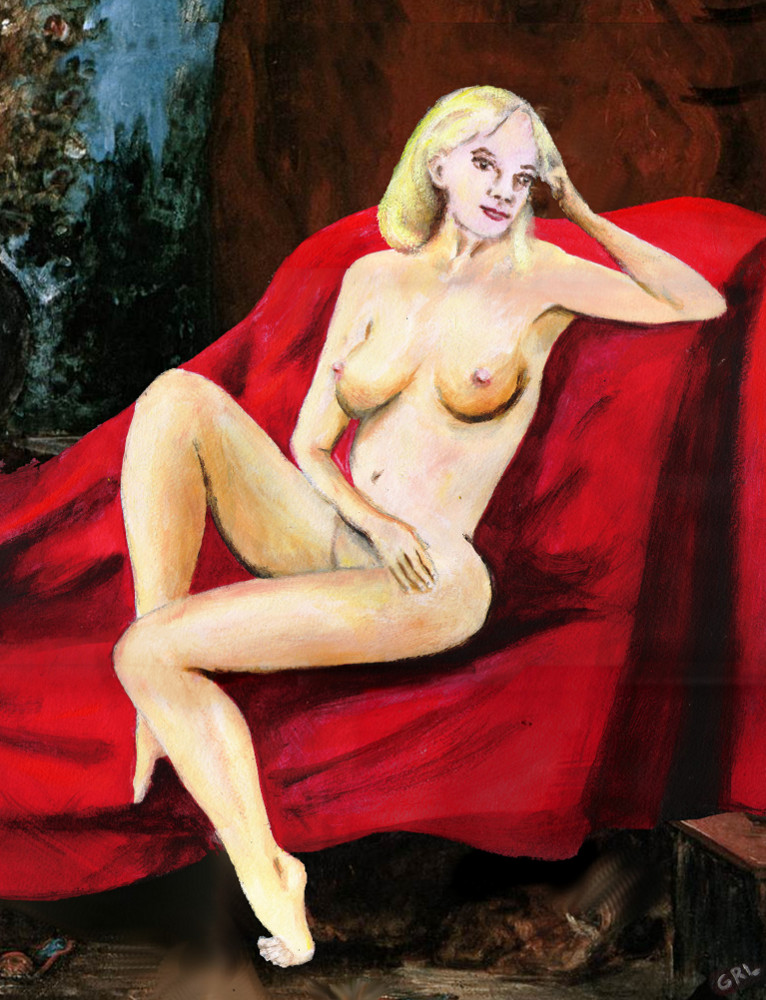 FINE ART FEMALE                                   NUDE SEATED ON RED DRAPERY - original                                   fine art work by G. Linsenmayer