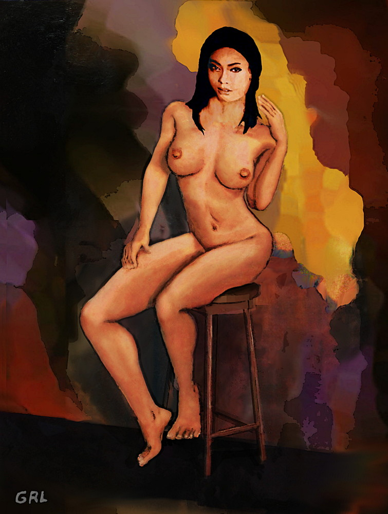 Fine Art Female Nude Vanna Pose2c. Original multimedia fine art work, paintings. $18 to $24, medium-size prints. Free downloads, wallpaper, ‬‎GrlFineArt. Female nude sitting on dark black, red, orange background; a classical motif in a contemporary style. landscapes, seascapes, boats, figures, nudes, figurative art, flowers, still life, digital abstracts. Multimedia classical traditional modern acrylic oil ‪‎painting‬ ‪‎painting‬s prints.
