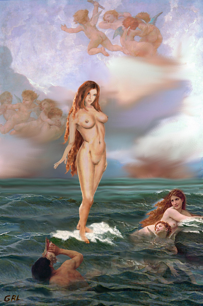 Aphrodite... an original multimedia digital art work, using a motif by Bouguereau, with my earlier original acrylic/oil sketch on paper.  Aphrodite was the Greek goddess of love, beauty, pleasure, and procreation, and identified with the planet Venus.