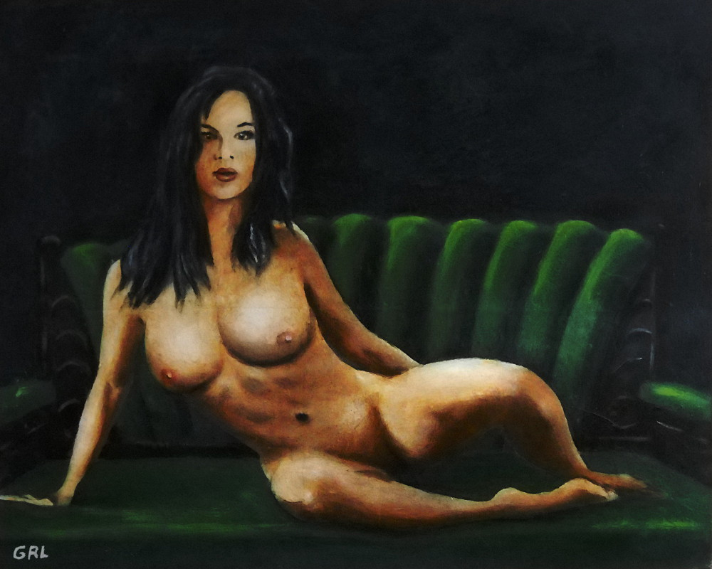 Fine Art Female Nude Sara Seated 2011 - Painting - Acrylic / Oil On Paper - original fine art work by G. Linsenmayer. Original art paintings and prints, landscapes/seascapes, boats, sea and shore, abstracts, nudes, female nudes...