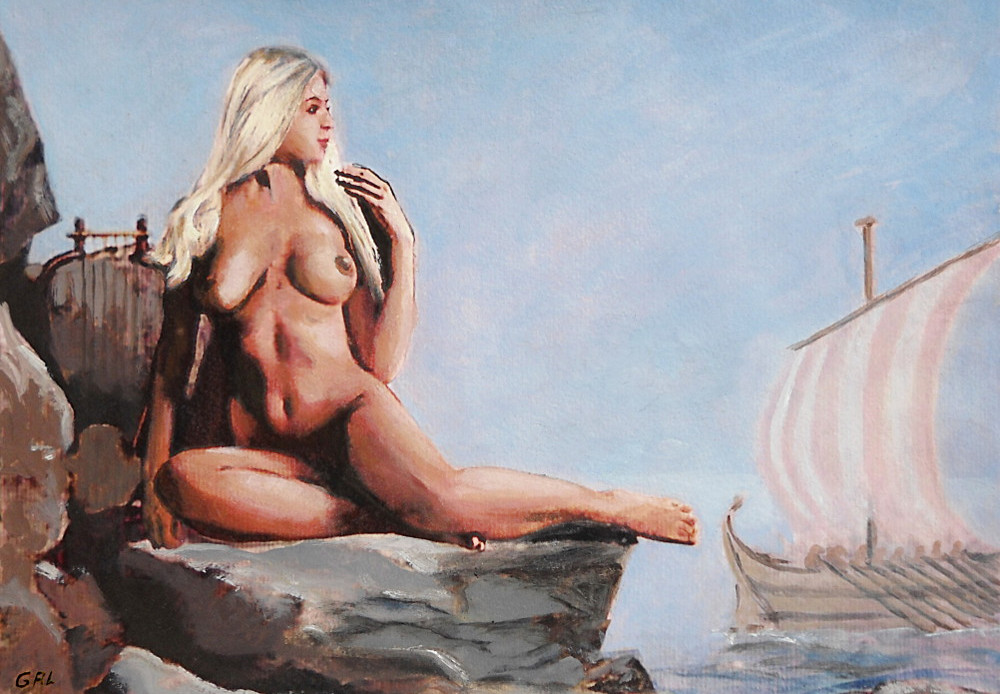 FINE ART FEMALE NUDE JENNIE AS SEA NYMPH GODDESS MULTIMEDIA PAINTING - original fine art work by G. Linsenmayer