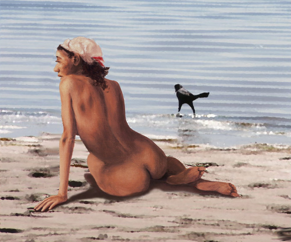 Fine Art Female Nude Multimedia Oil Painting Stacy Sitting Gulf Coast Florida - original fine art work by G. Linsenmayer