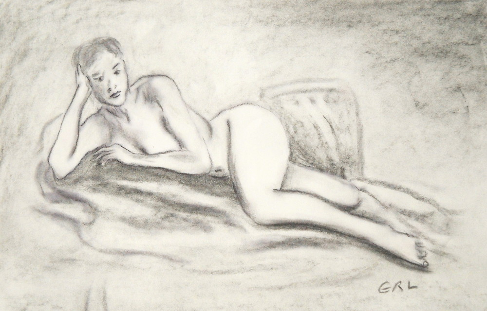 fine-art-reclining-nude-original-sketch - original                 fine art work by G. Linsenmayer