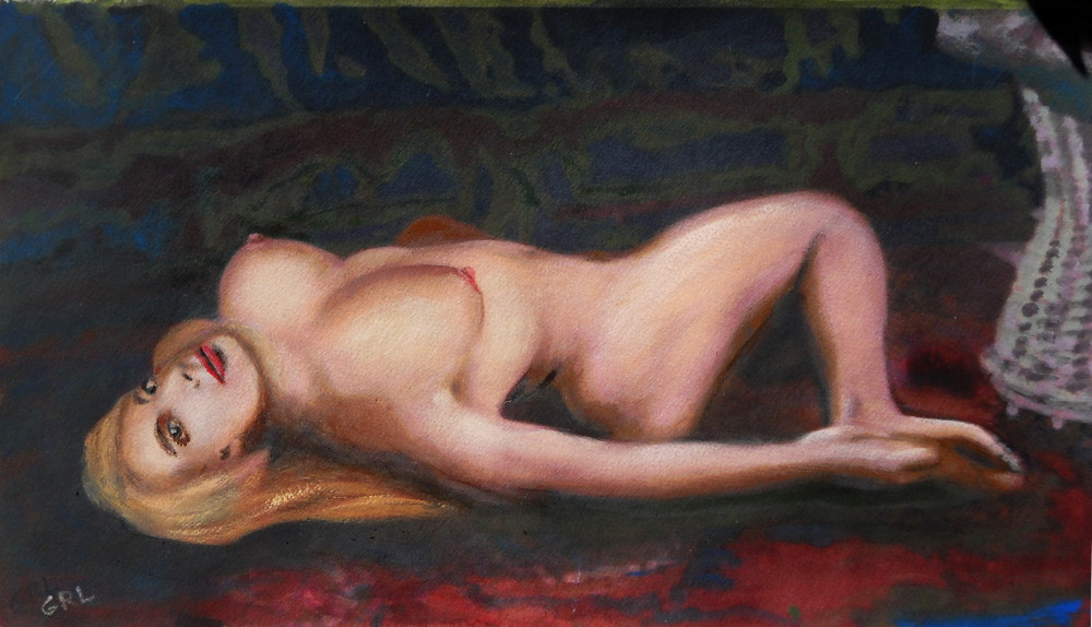 Jess Reclining Original Fine Art Nude Multimedia Painting - original fine art work by G. Linsenmayer