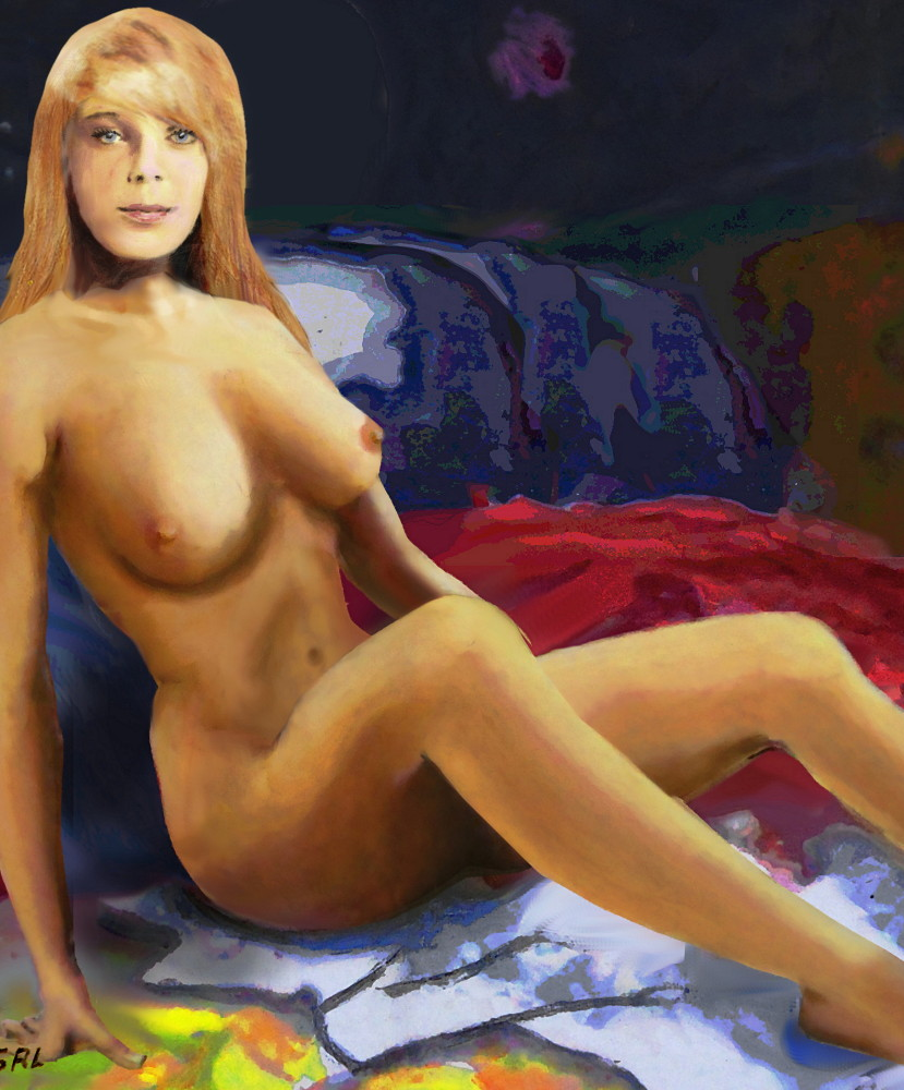 Original Fine Art Nude Jess Sitting.... an original multimedia oil / acrylic digital painting of a female nude, with a dark red, blue background, 15 x 13 inches. The original is available, $350. $18 to $24, medium-size prints. Free downloads, wallpaper, ‬‎GrlFineArt. Fine art work, nudes, figurative paintings. View here, art decor ‪‎fineart figures ‪‎painting‬ ‪‎painting‬s prints.