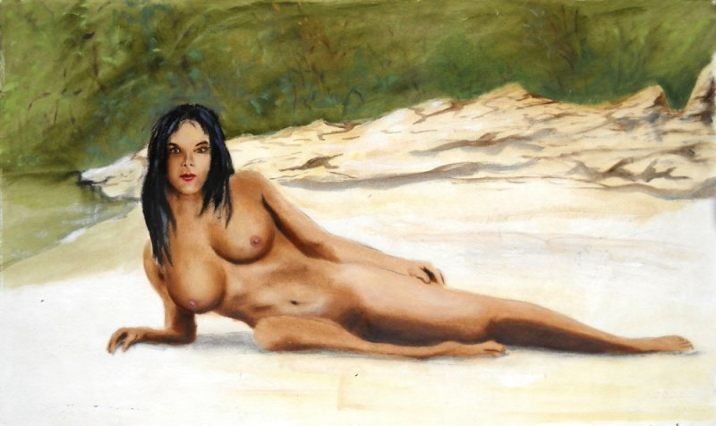 NUDE FEMALE WOMAN Sara                                 Reclining Wiki Wachie Gulf Coast Florida                                 - original fine art work by G.                                 Linsenmayer