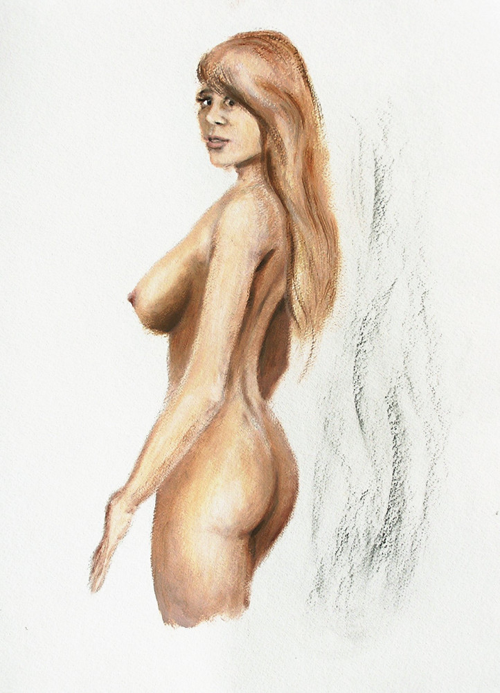 Female Nude Fine Art Acrylic Oil Sketch Jess Standing - original fine art work by G. Linsenmayer