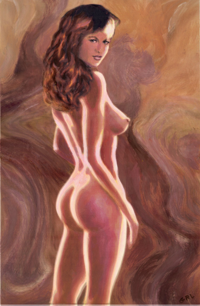 FINE ART FEMALE NUDE                                   STANDING - Acrylic / Oil Multimedia by                                   G. Linsenmayer #GrlFineArt