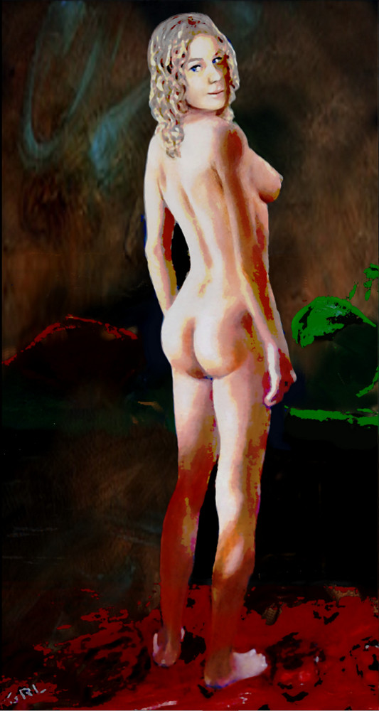 FINE ART FEMALE NUDE BRIGIT                                       STANDING ORIGINAL MULTIMEDIA                                       PAINTING by G. Linsenmayer                                       #GrlFineArt