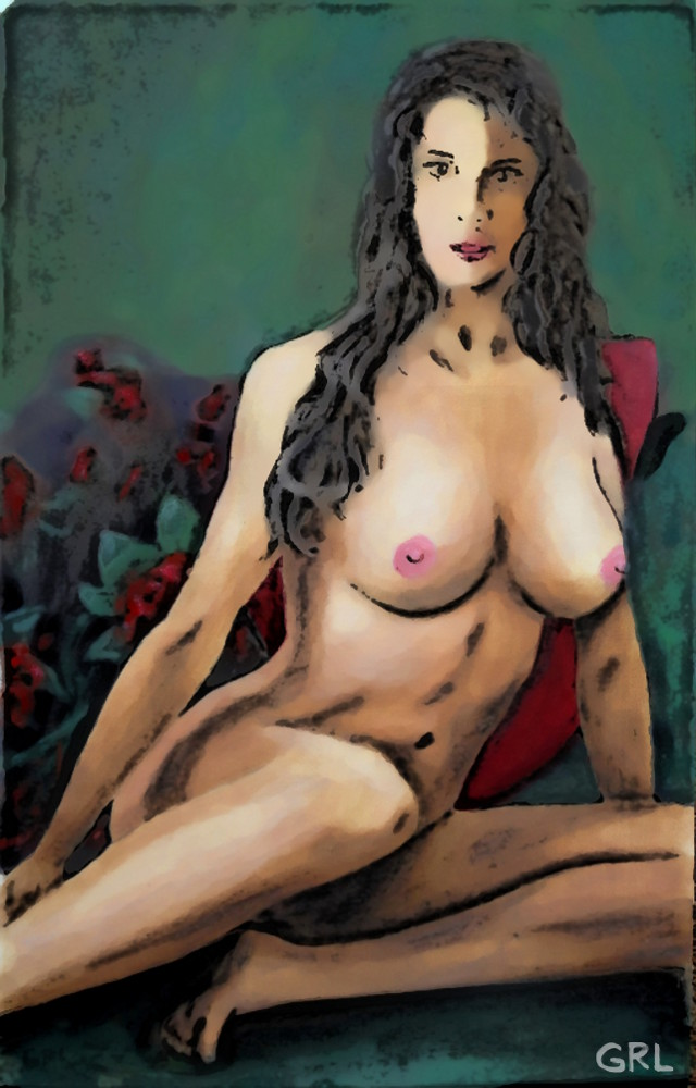 ORIGINAL FINE ART FEMALE                               NUDE JEAN SITTING GREEN BACKGROUND by G.                               Linsenmayer #GrlFineArt