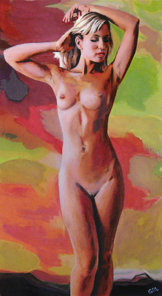 FINE                                 ART FEMALE NUD JENNIE STANDING                                 MULTIMEDIA PAINTING - original fine art                                 work by G. Linsenmayer