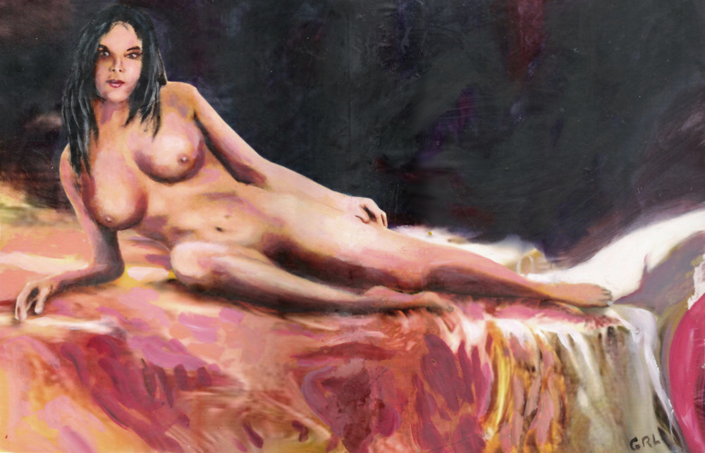 FEMALE NUDE SARA RECLINING                                   ORIGINAL MULTIMEDIA PAINTING by G.                                   Linsenmayer #GrlFineArt