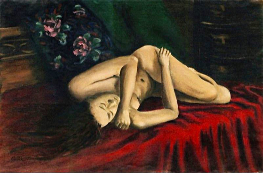 Nude Female Portrait Stacy Reclining. Original paintings and prints, ‬‪#‎art‬ ‪#‎nude‬ ‪#‎fineart #nudes ‪#‎painting‬ ‪#‎painting‬s #‎GrlFineArt #prints #print-on-demand. Original fine art work by G. Linsenmayer.