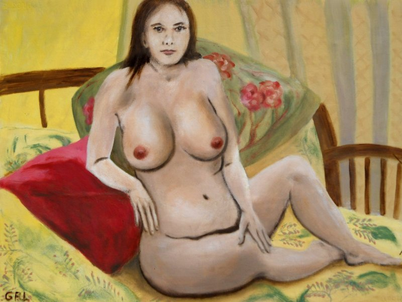 Fine Art Female Nude Seated 2010,, an original classical-styled fine art oil painting of a female nude. Original art paintings and prints, landscapes/seascapes, boats, sea and shore, abstracts, nudes, female nudes. Fine art work by G. Linsenmayer