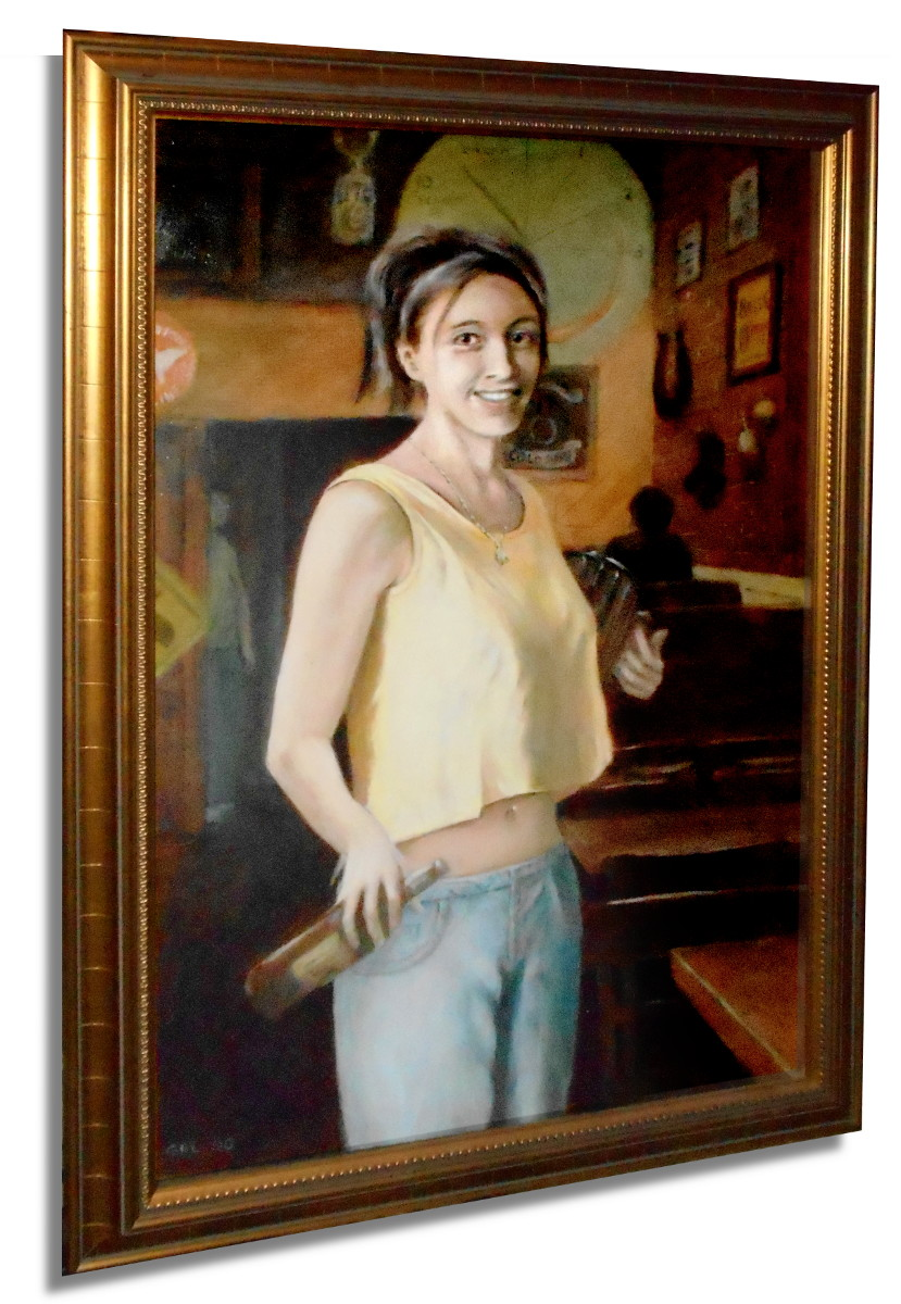 Portrait of Shannon, Young Woman Working in a Bar, $1100, 20x30 inches, classical frame; $20 to $30, medium-size prints, free downloads.  ...Shannon, a favorite bartender, Frederick, Maryland. Multimedia classical traditional modern acrylic oil paintings. GrlFineArt art fineart painting, room decor, paintings, prints, portraits, figures,  figurative